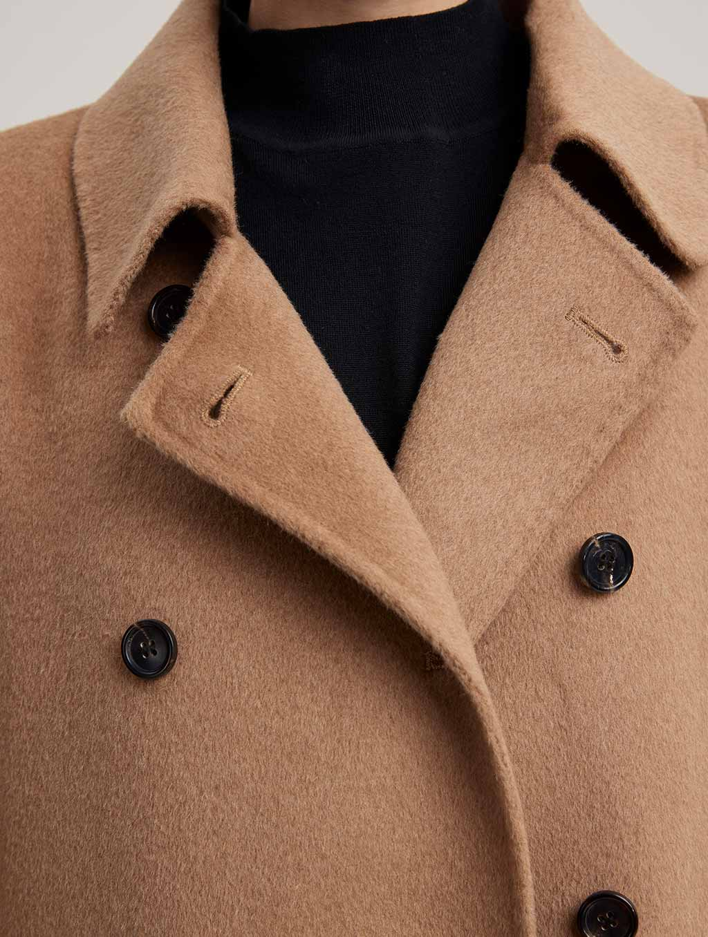 Waisted Double Buttoned 100% Camel Hair Coat-detail-camel