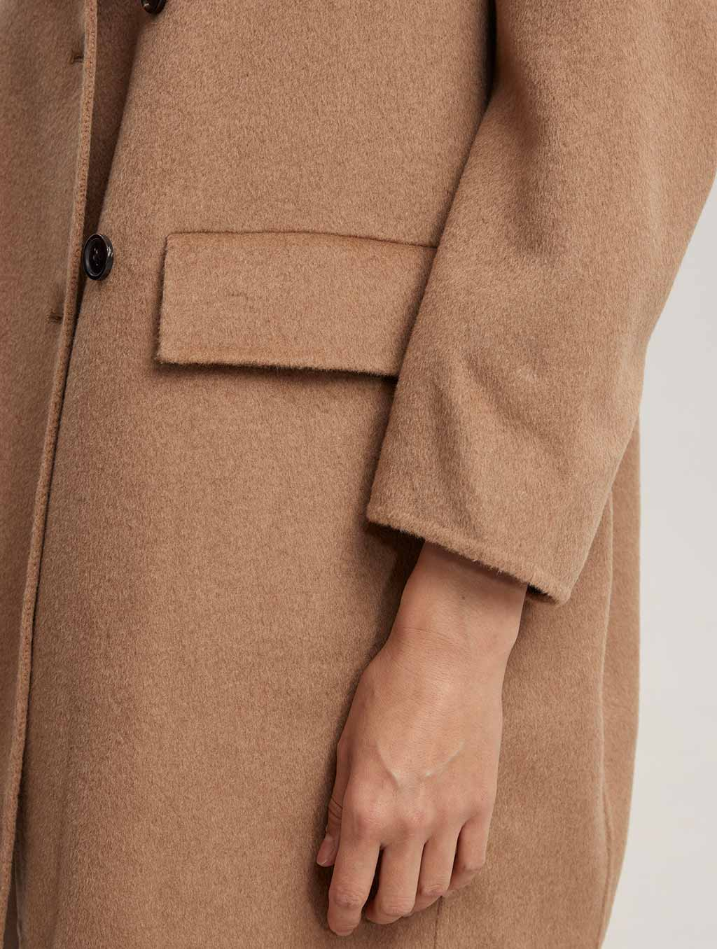 Waisted Double Buttoned 100% Camel Hair Coat-detail-camel1