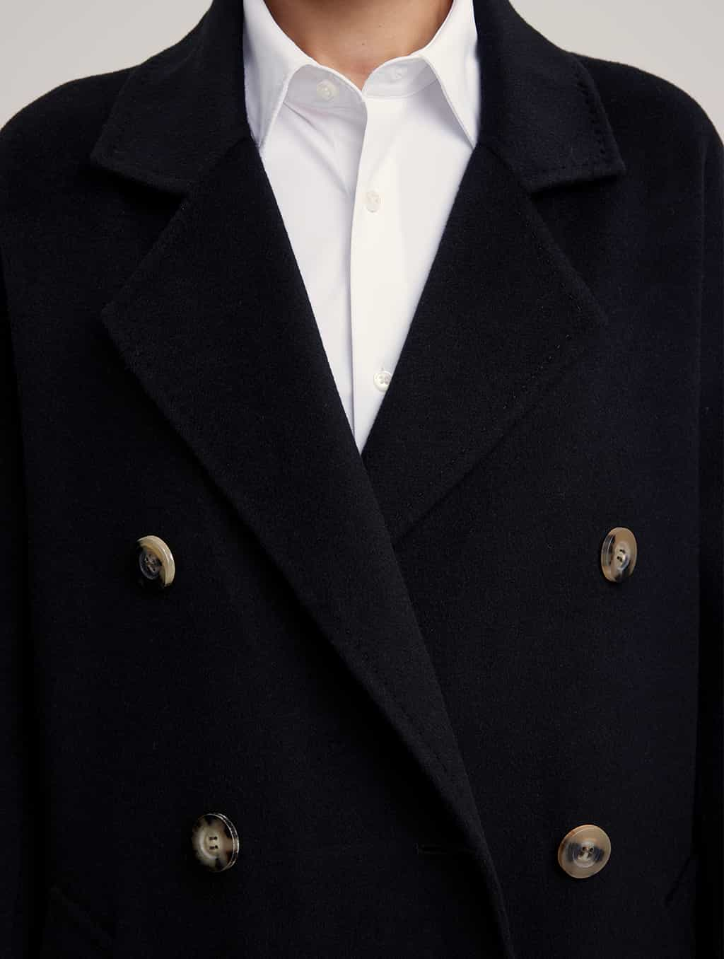 Waisted Pure Cashmere Coat with Straight Sleeves-detail-black