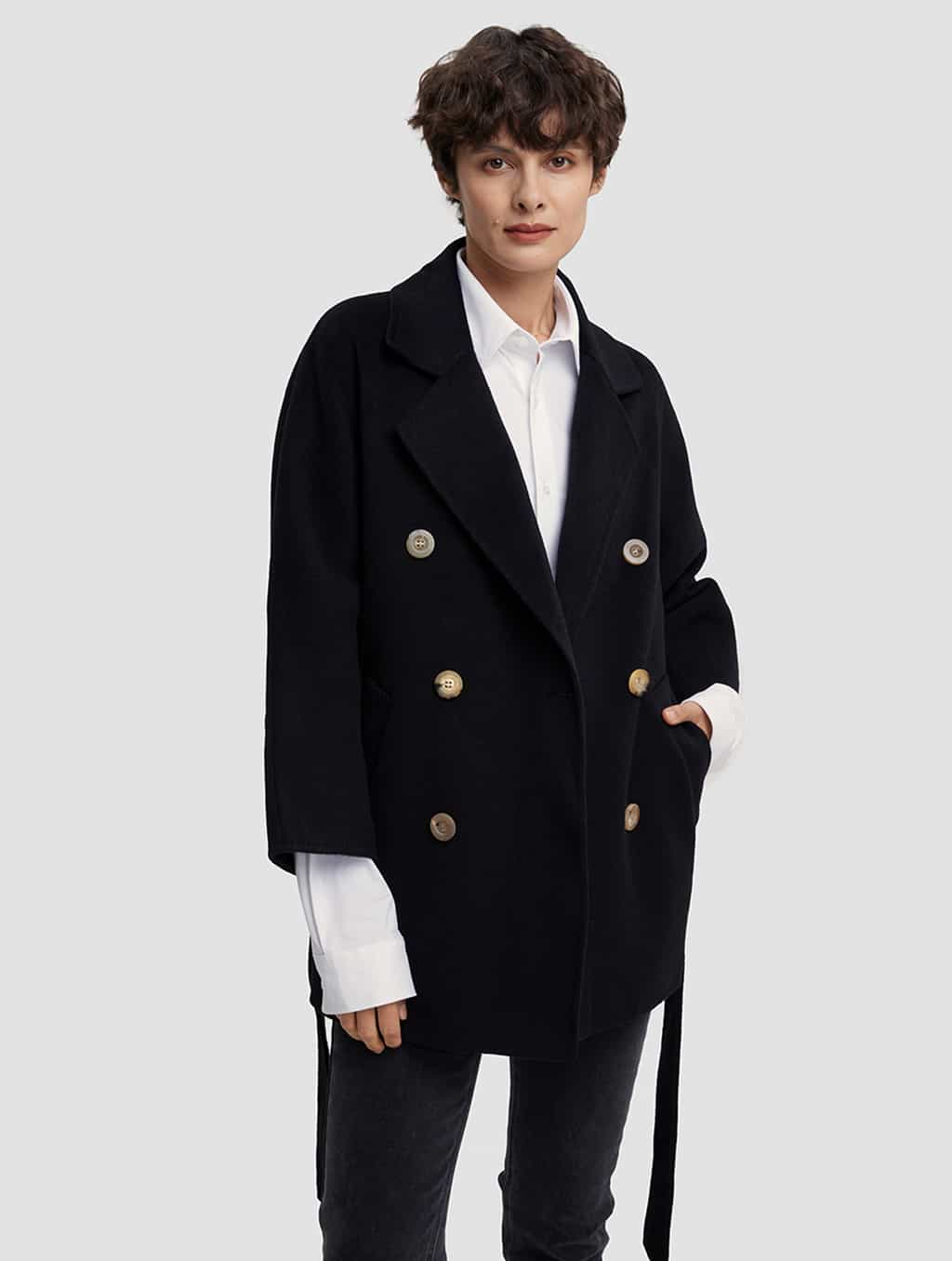 Waisted Pure Cashmere Coat with Straight Sleeves-positive-black